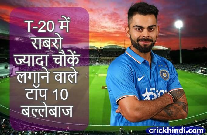 T20 me sabse jyada four   टी-20 में सबसे ज्यादा चौकें लगाने वाले बल्लेबाज